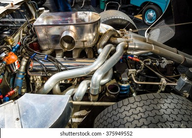 MAASTRICHT, NETHERLANDS - JANUARY 15, 2016: Engine of a high performance American-British endurance racing car Ford GT40 Mark IV, 1967. Close-up. Intern. Exhibition InterClassics & Topmobiel 2016