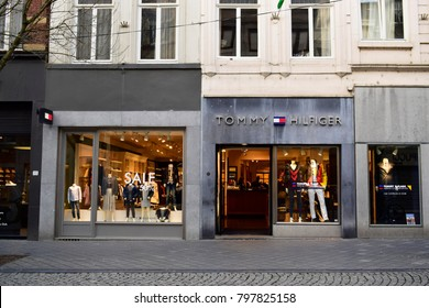 MAASTRICHT, NETHERLANDS - January 18, 2018: Tommy Hilfiger store. Tommy Hilfiger corporation is an American clothing company. This brand is a famous American fashion design for people of all ages.