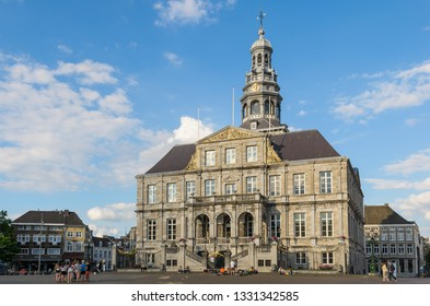 Maastricht, The Netherlands - July 2016. View of The Stadhuis, Town Hall in the centre of Maastricht in the Netherlands.  It is sited on the Markt. The building was designed by Pieter Post.