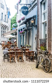 MAASTRICHT, THE NETHERLANDS - june 10, 2018: Street view of downtown in Maastricht, Netherlands.
