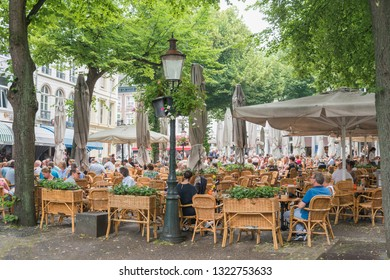MAASTRICHT, THE NETHERLANDS - june 10, 2018: Restaurants in Maastricht, Netherlands.