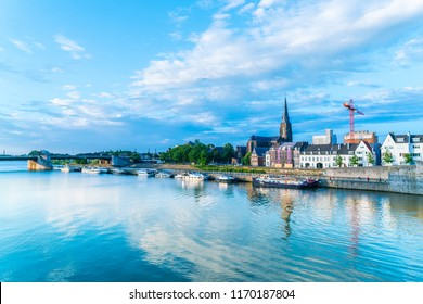 Maastricht, The Netherlands - June 16th 2018, North View on the Maas river in summertime in the center of Maastricht