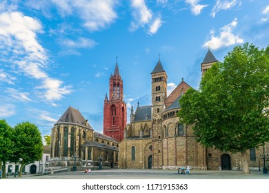 Maastricht, The Netherlands - June 16th 2018, Basilica of St. Servatius and old church on the Vrijthof square in the center of the historic city of Maaastricht