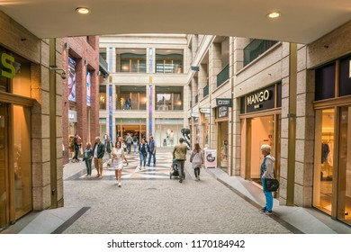 Maastricht, The Netherlands - June 17th 2018, People visiting the 'Entre Deux' shopping passage in the center of Maastricht