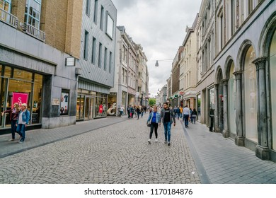 Maastricht, The Netherlands - June 18th 2018, People shopping in the 'Kleine staat'  in the historic center of Maastricht