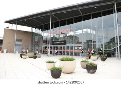 Maastricht, The Netherlands - June 5, 2019: Exterior of  Maastricht Exhibition and Congress Center (MECC) one of the contenders to organize the Eurovision Song Contest in The Netherlands in 2020