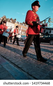 Maastricht, Netherlands - June 9, 2019: Music band crosses the streets of Maastricht during a religious procession.