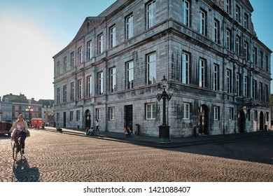 Maastricht, Netherlands - June 9, 2019: City Hall of Maastricht at sunset