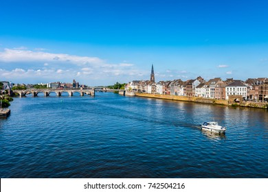 Maastricht Netherlands and Maas River on summer day