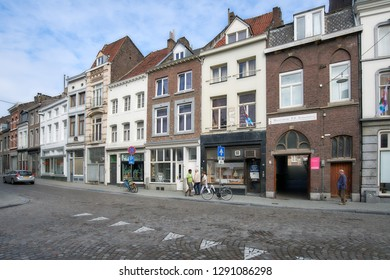 MAASTRICHT, NETHERLANDS - SEPTEMBER 8, 2013: People on the Brusselsestraat street in the old town. Maastricht is considered as the oldest city of Netherlands