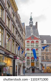 MAASTRICHT,NETHERLANDS - MAY 16,2018 - Building Het Dinghuis in the streets of Maastricht. Maastricht is the capital and largest city of the province of Limburg.