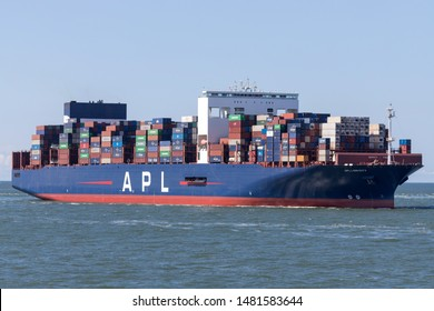 MAASVLAKTE, THE NETHERLANDS - JULY 1, 2019: APL LION CITY inbound Rotterdam. APL, along with its parent company CMA CGM, is the world's third-largest container transportation and shipping company.