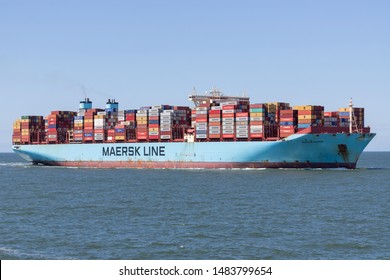 MAASVLAKTE, THE NETHERLANDS - JULY 1, 2019: MORTEN MAERSK inbound Rotterdam. Maersk is the largest container ship operator in the world.