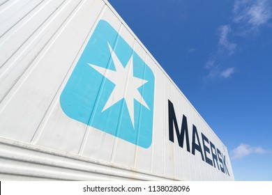 MAASVLAKTE, THE NETHERLANDS - June 25, 2018: Maersk 40 ft intermodal refrigerated container against blue sky. Maersk is the largest container ship operator in the world.