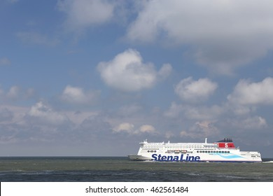 MAASVLAKTE, THE NETHERLANDS - June 26, 2016: STENA HOLLANDICA leaving Hook of Holland. Stena Line is one of the world's largest ferry operators and the largest privately owned shipping company.