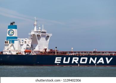 MAASVLAKTE, THE NETHERLANDS - June 26, 2018: VLCC tanker NOBLE inbound Rotterdam. Euronav is an international shipping enterprise which focuses on oil transport by sea.