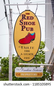 MABOU, CAPE BRETON, NOVA SCOTIA, CANADA - JULY 18, 2018: Sign for The Red Shoe Pub.
