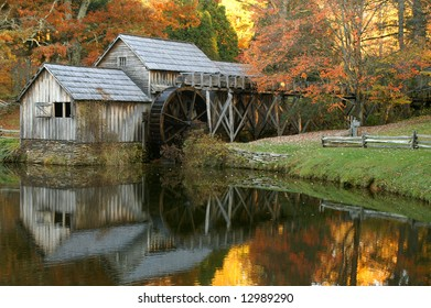 Mabry Mill, Meadows of Dan, Virginia In Autumn with Reflection Horizontal