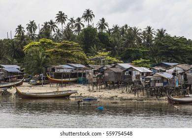 MABUL ISLAND, MALAYSIA - January 1, 2017: Sea gyspies houses at Mabul island, Sabah, Borneo, Malaysia