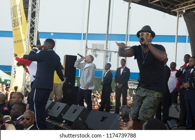 Mac Miller joins Jay Electronica and Talib Kweli on stage at the Brooklyn Hip Hop Festival 10th Year Anniversary in Brooklyn New York on July 12, 2014.