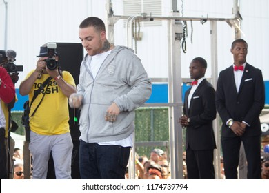 Mac Miller thinks of a rhyme on stage at the Brooklyn Hip Hop Festival 10th Year Anniversary in Brooklyn New York on July 12, 2014.