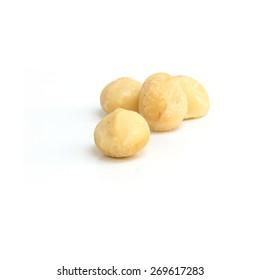 Macadamia nut isolated on white background