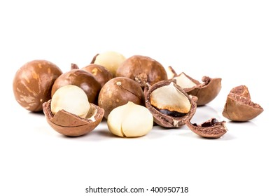The macadamia nuts on white background