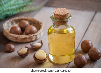 Macadamia oil in bottle and macadamia nuts on wooden table
