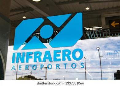 Macae/Rio de Janeiro/Brazil - 03/12/2019: Sticker of Infraero Aeroportos on the viewing glass in macae airport, rio de janeiro, brazil