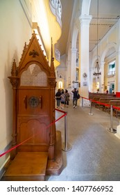 Macao, China - APR 2019: The view of the confessional in St. Dominic's Church, one of the UNESCO world heritage site in Historic Centre of Macao