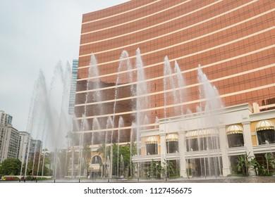 MACAO, CHINA - April, 20, 2018. Singing fountain near the hotel Wynn Macau