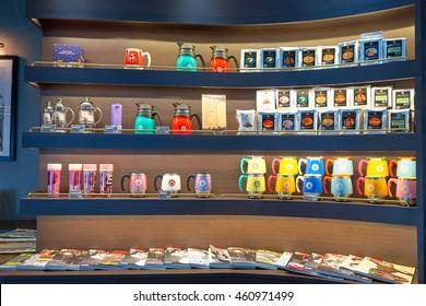 MACAO, CHINA - FEBRUARY 17, 2016: interior of Pacific Coffee at Macau International Airport. Macau International Airport is an international airport in the special administrative region of Macau.