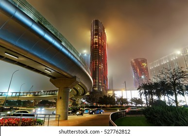 Macao, China - March 8, 2016: City of Dreams Hotel of Macau Casino and luxury resort in Macao, in China. Late in the evening. Golden light illumination