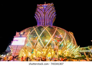 MACAO, CHINA - OCT 19 : The hotel Grand Lisboa is a very big hotel ,casino and restaurant in Macau , China on October 19 2017.