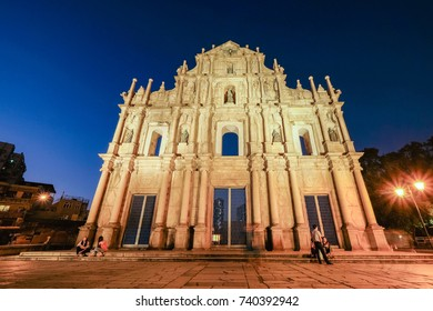 MACAO, CHINA - OCT 19 : The ruins of St Paul church, which only consists in of its main facade, in Macao are one of the city main landmark on October 19 2017.
