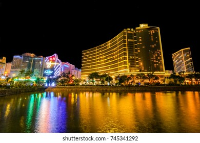MACAO, CHINA - OCT 19 : Wynn Macau is a luxury integrated resort in Macau Peninsula, Macau, China, offering gaming combined with a hotel, restaurants, shops, spa in Macao on October 19 2017.