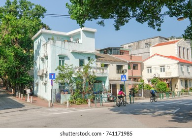 MACAO, CHINA - OCT 20 : The beautiful street view along the Coloane village , Macao on October 20 2017. This village has many historical tourist sites and the best fresh seafood.