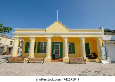 MACAO, CHINA - OCT 20 : The Biblioteca is the public library at the Coloane village , Macao on October 20 2017.