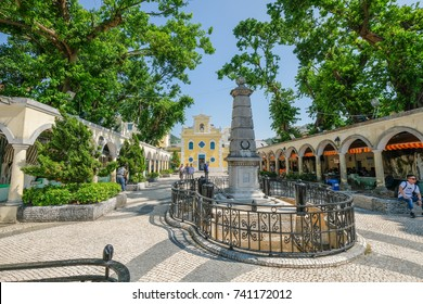 MACAO, CHINA - OCT 20 : The church of St. Francis Xavier in the charming village of Coloane in Macau on October 20 2017.