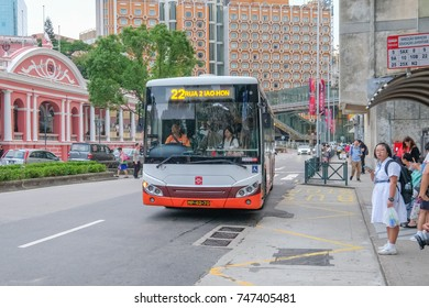 MACAO, CHINA - OCT 20 : The city bus is the famous and cheap transportation around Macao on October 20 2017.