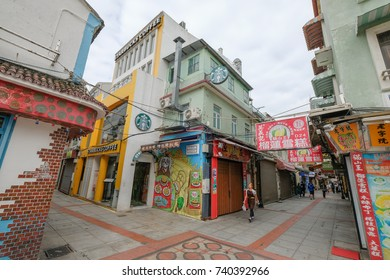 MACAO, CHINA - OCT 20 : The famous food street at Rua do Cunha in Taipa Island, Macau on October 20 2017.