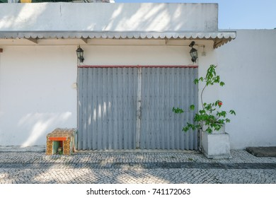 MACAO, CHINA - OCT 20 : The old tradition steel door at the Coloane village , Macao on October 20 2017.
