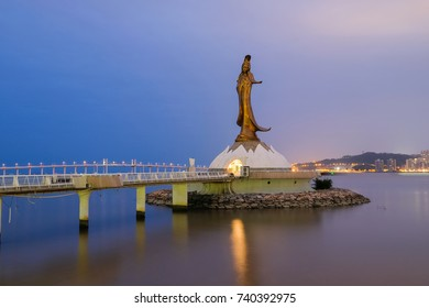 MACAO, CHINA - OCT 20 : The status of Kun Iam or the goddess of mercy attractive tourist places in early morning on October 20 2017.