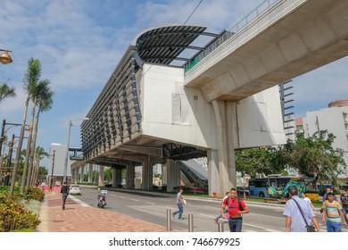 MACAO, CHINA - OCT 20 : The train station of the new sky train in Taipa-Cotai island , Macao on October 20 2017.