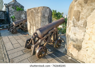 MACAO, CHINA - OCT 21 : The cannon at Monte Fort, the 52 metre-tall mountain hill,located directly east of the Ruins of St. Paul's , Macau on October 21 2017.