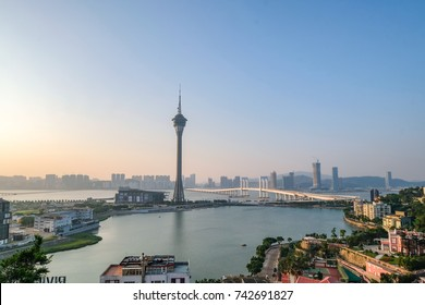 MACAO, CHINA - OCT 21 : Macau Tower is 338 m tall in Macau on October 21 2017. It is a sightseeing tower and entertainment activities.