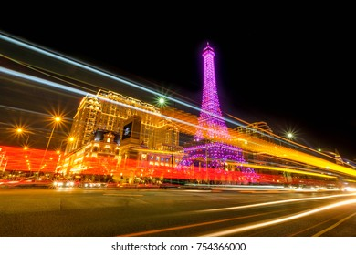 MACAO, CHINA - OCT 21 : The night light of Cotai island Macao with the Parisian Hotel, the large hotel and casino in Macao on October 21 2017.