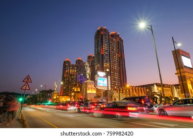 MACAO, CHINA - OCT 21 : The night light of Cotai island Macao with the Studio City, the large hotel and casino in Macao on October 21 2017.