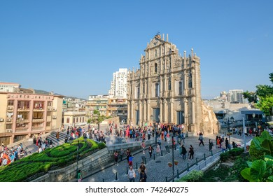 MACAO, CHINA - OCT 21 : The Ruins of St. Paul's , the building from 16th-century is one of Macau's best known landmarks, Macau , China on October 21 2017.