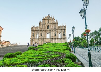 MACAO, CHINA - OCT 21 : The Ruins of St. Paul's is Macau's best known landmarks on October 21 2017.